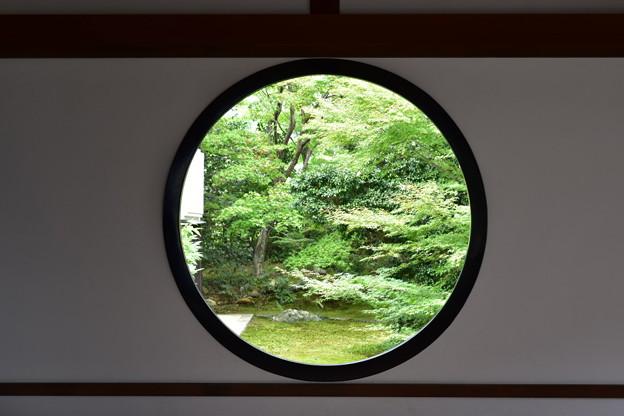 庭の木々を縁どる丸窓@源光庵
