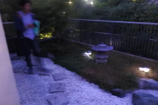 ベランダの小さな日本庭園