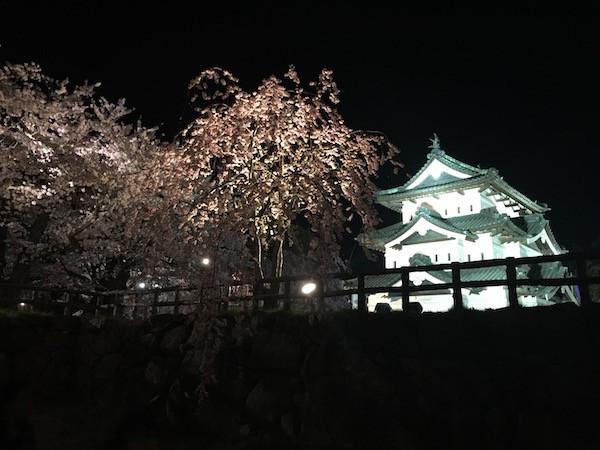 弘前城の満開の夜桜