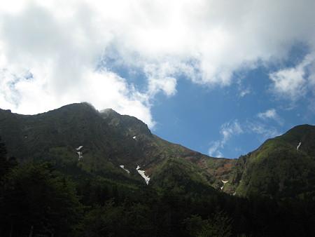 行者小屋から見る赤岳